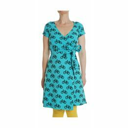 Adult MTAF Turquoise Bikes Wrap  Dress