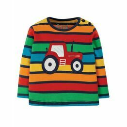 Frugi Button Applique Top, Bumble Rainbow Stripe/Tractor