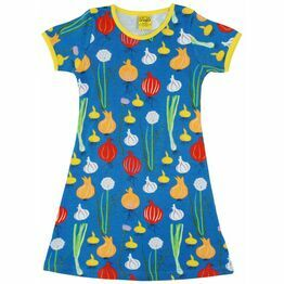 Adult Duns Garlic Chives and Onion Blue Short Sleeve Dress