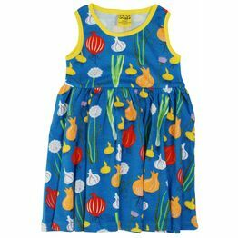 DUNS Garlic Chives and Onion Blue Sleeveless Gather Dress