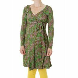 DUNS Adult Olive Willowherb Long Sleeve Wrap Dress