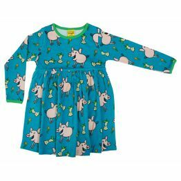 DUNS Pig Teal Long Sleeve Gather Dress