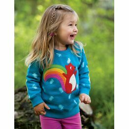 Frugi Jump About Jumper, Teal Acorn Leaves/Squirrel,