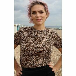 Run & Fly Natural Leopard Ringer Print T Shirt