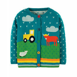 Frugi Tobermory Teal Tractor Cuddly Knitted Cardigan