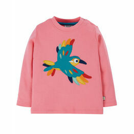 Frugi Little Discovery Applique Top - Guava Pink Bird