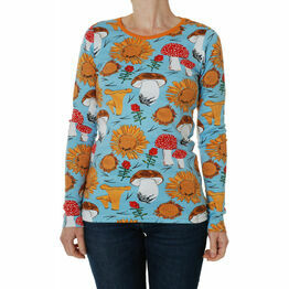 DUNS Adult Sunflowers and Mushrooms Sky Blue  Long Sleeve Top