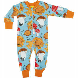DUNS Sunflowers and Mushrooms Sky Blue  Zip Suit