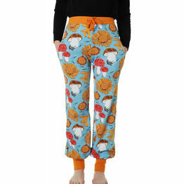 DUNS Adult Sunflowers and Mushrooms Sky Blue Baggy Pants