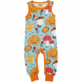 DUNS Sunflowers & Mushrooms Sky Blue Dungarees