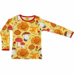 DUNS Sunflowers and Mushrooms Sunshine Yellow  Long Sleeve Top