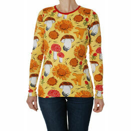 DUNS Adult Sunflowers and Mushrooms Sunshine Yellow  Long Sleeve Top