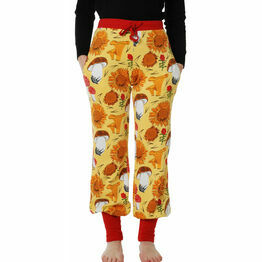 DUNS Adult Sunflowers and Mushrooms Sunshine Yellow Baggy Pants