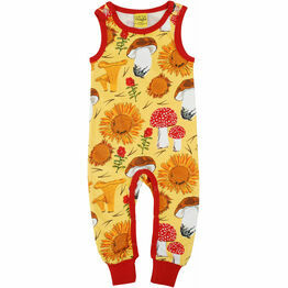 DUNS Sunflowers and Mushrooms Sunshine Yellow Dungaree