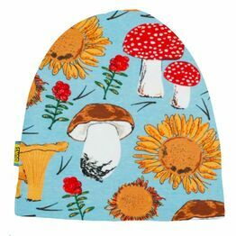 DUNS Winter 2020 Sunflowers and Mushrooms Sky Blue  Double Layer Hat