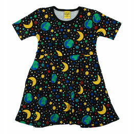 DUNS Mother Earth - Black Short Sleeve Skater Dress