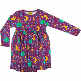 DUNS Mother Earth - Bright Violet   Long Sleeve Dress w gather skirt