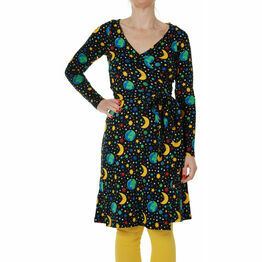 DUNS Adult Mother Earth Black  Wrap Dress Long Sleeve