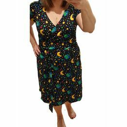 DUNS Adult Mother Earth Black Short Sleeve Wrap Dress