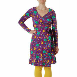 DUNS Adult Mother Earth Bright Purple  Wrap Dress Long Sleeve