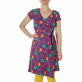 DUNS Adult Mother Earth Bright Purple  Wrap Dress SHORT Sleeve