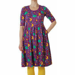 DUNS Adult Mother Earth Bright Violet Dress with high waist and scooped neckline