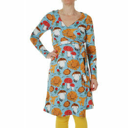 DUNS Adult Sunflowers and Mushrooms Sky Blue  Wrap Dress Long Sleeve