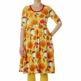 DUNS Adult Sunflowers and Mushrooms Sunshine Yellow  Dress with high waist and scooped neckline