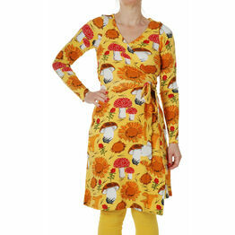 DUNS Adult Sunflowers and Mushrooms Sunshine Yellow  Wrap Dress Long Sleeve