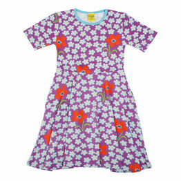 DUNS Flower Amethyst Short Sleeve Skater Dress