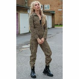 Run & Fly Natural Leopard Print Stretch Twill Boiler Suit