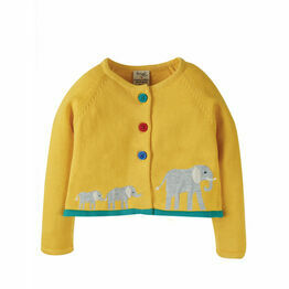 Frugi Bumble Bee/Elephant - Little Annie Applique Cardigan
