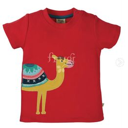 Frugi Little Creature Applique Top - True Red/Camel