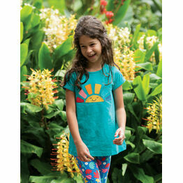 Frugi Lizzie Applique Slub Top - Jewel (slub) / Rainbow