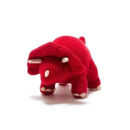 Best Years Knitted Red Triceratops Dinosaur Toy