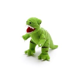 Best Years Knitted Green T-Rex Dinosaur Toy