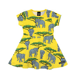 Villervalla Half Circle Dress Short Sleeve - Elephant