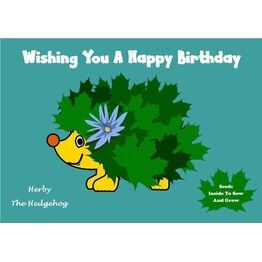 Seeds With Love Kids Birthday Card & Seeds - Herby the Hedgehog