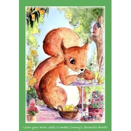 Seeds With Love Kids Greeting Card & Seeds - Sunny the Squirrel Mint Lemonade
