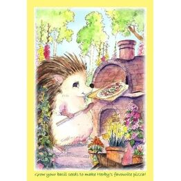Seeds With Love Kids Greeting Card & Seeds - Herby the Hedgehog Margherita Pizza