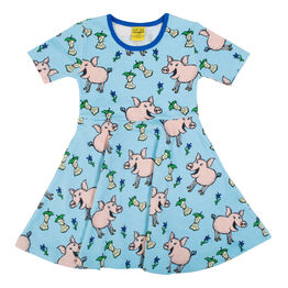 Duns Short Sleeve Skater Dress - Pig - Blue