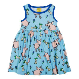 Duns Sleeveless Dress With Gathered Skirt - Pig - Blue