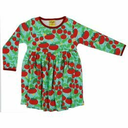DUNS Growing Tomatoes Turquoise Long Sleeve Gather Dress