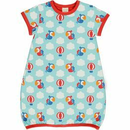 Maxomorra Parrot Safari Dress Balloon Short Sleeve