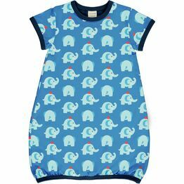 Maxomorra Elephant Friends Dress Balloon Short Sleeve