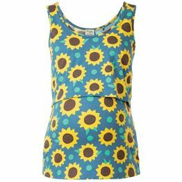 Frugi Lowen Vest, Steely Blue Sunflowers