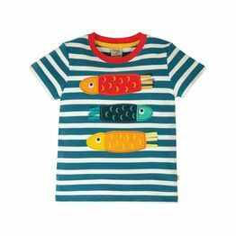 Frugi Sid Applique T-Shirt, Steely Blue Stripe/Fish