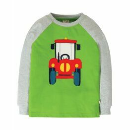 Frugi Jake Applique Top, Kiwi/Tractor