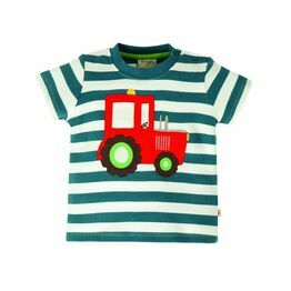 Frugi Little Wheels Applique Top - Steely Blue Stripe/Tractor