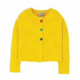 Frugi Carrie Knitted Cardigan, Sunflower